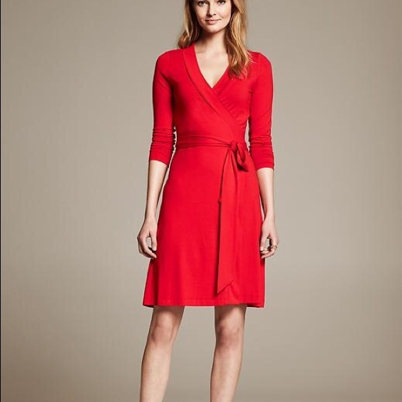 Long Sleeve Red Wrap Dress